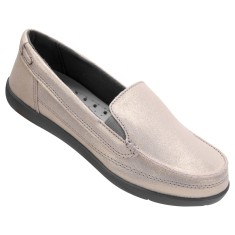 Tênis Crocs Feminino Casual Walu Shimmer Leather Loafer